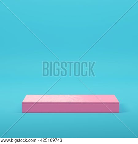 Pink Rectangle Podium For Product Display On Bright Blue Background In Pastel Colors. Minimalism Con