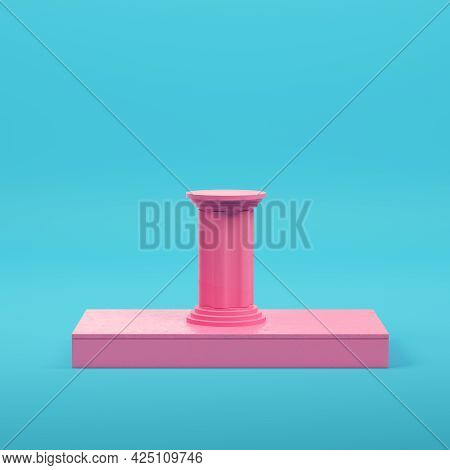 Pink Rectangle Podium With Column On Bright Blue Background In Pastel Colors. Minimalism Concept. 3d