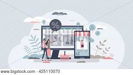 Marketplace With E-commerce Store Front And Products Tiny Person Concept. Digital Internet Web Shop