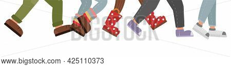 Many Human Feet Walk In The Crowd. Wide Banner With Children's Shoes. Funny Colored Flat Illustratio
