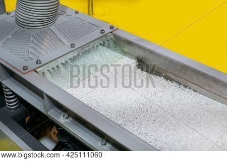 Recycled Plastic Granules - Propylene Or Polyethylene Pellets On Shale Shaker, Conveyor Belt Of Wast