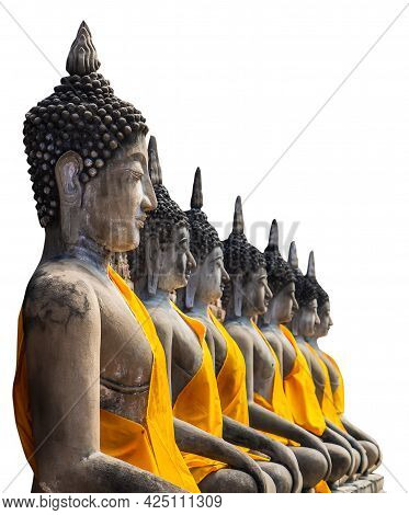 Row Of Ancient Thai Buddha Stone Statue Isolated On White.