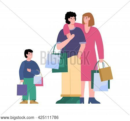 Happy Shoppers Family With Child Enjoy Sales And Discounts At Stores And Malls