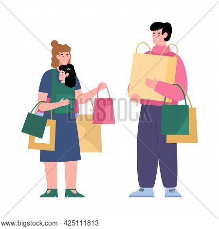 Happy Family With Kid Girl Enjoying Sales And Discounts At Stores And Malls.