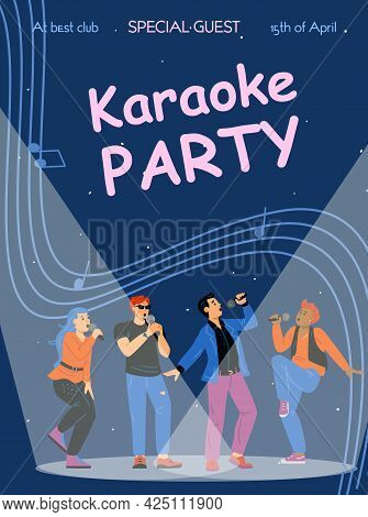 Karaoke Party Banner With Singing People Characters, Flat Vector Illustration.
