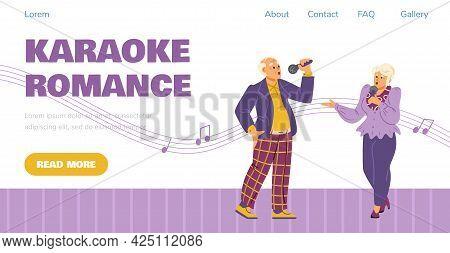 Karaoke Party Webpage Mockup Witjh Elderly People, Flat Vector Illustration.