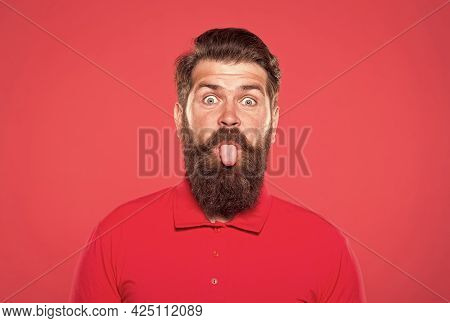 Pink Tongue. Bearded And Cheerful. Hipster Appearance. Beard Fashion. Barber Concept. Man Bearded Hi