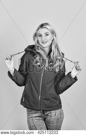 Fashion Outfit. Cute Blonde Girl Red Jacket Blue Background. Fashion Has To Reflect Who You Are. Wom