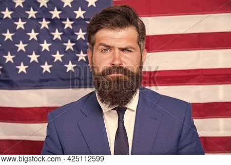 National Holidays. Happy Celebration Of Victory. Bearded Hipster Man Being Patriotic For Usa. Tv Hos