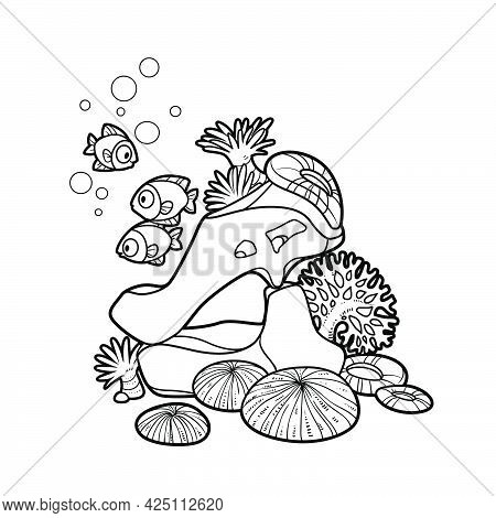 Stone Arch With Sea Anemones And Corals Coloring Book Linear Drawing Isolated On White Background