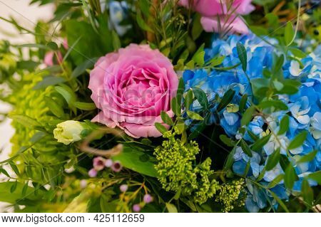 Close Up View Of Colorful Beautiful Pink Peony, Blue Hydrangea, Hortensia, Green Chrysanthemum At St