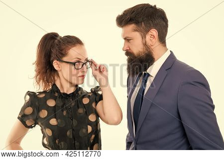 Employer And Employee Relations. Law Firm Employee And Lawyer. Professional Couple. Business Woman A