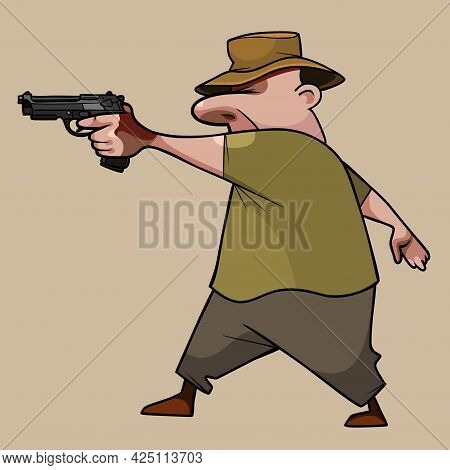 Cartoon Man In A Hat Expertly And Passionately Aims Pistol