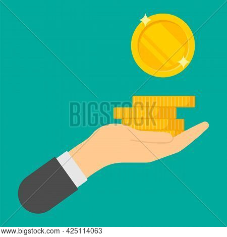 Gold Coin In Hand Businessman. Giving, Receiving Take Money. Concept Of Charity, Donate. Vector Illu