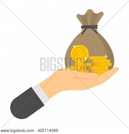 Hand With Money Bag And Coin Finance Icons. Vector Illustration.