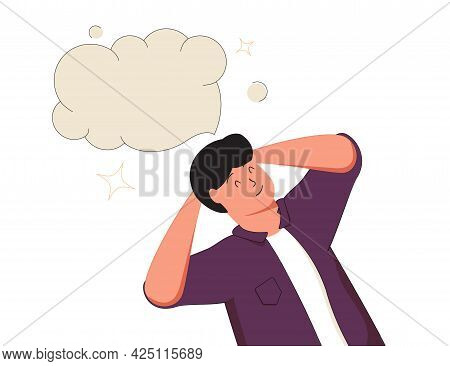 Dreaming, Thinking Man Lying And Imaging With A Cartoon Doodle Bubble. Thin Outline Vector Illustrat