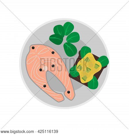 Dish On A Plate Salmon Steak, Avocado, Bread, Lettuce, Pepper.