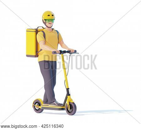 Electric scooter delivery courier with parcel backpack. Courier deliveryman riding electric scooter with thermal bag. Man delivering food, orders or parcels. 3d illustration. Express delivery concept
