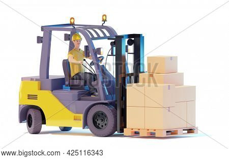 Forklift truck driver lifting pallet with carboard boxes. Warehouse worker is stacking pallets with forklift stacker loader. 3d illustration