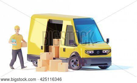 Deliveryman loading cardboard boxes in van. Postal delivery courier man holding cardboard box in front of cargo van delivering package. 3d illustration. Express delivery concept
