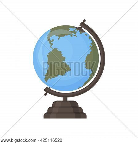 The School Globe. Round Layout Of The Planet Earth. A School Globe For Studying Geography With Conti