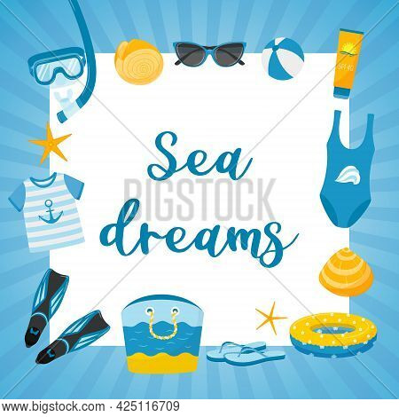 A Square Postcard With A Blue Striped Frame And The Words Sea Dreams Elements Of A Sea Beach Holiday