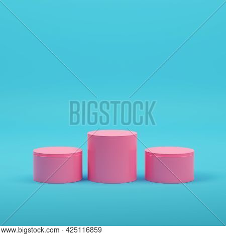 Pink Empty Cylindrycal Product Display On Bright Blue Background In Pastel Colors. Minimalism Concep