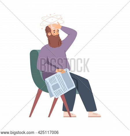 Elderly Man In Armchair Feeling Weak And Tired Flat Vector Illustration Isolated.