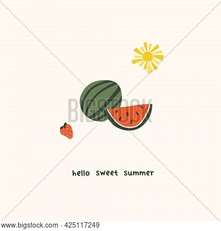 Cute Summer Watermelon Slices And Strawberry. Cozy Hygge Scandinavian Style Template For Postcard, G