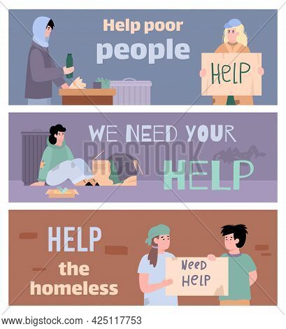 Poor Homeless Adult People And Children Living At City Streets Needy In Charity.