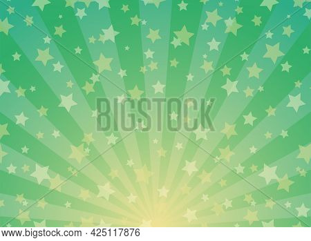 Sunlight Wide Background. Green And Gold Color Burst Background With Shining Stars. Vector Illustrat