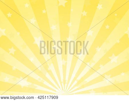 Sunlight Horizontal Background. Powder Yellow Color Burst Background With Shining Stars. Vector Illu