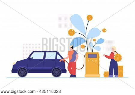 Concept Of Fuel Price And Economy Money At Gasoline A Vector Illustration.