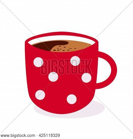 Red Cup With Aromatic Coffee Inside. Flat Vector Illustration Isolated On White Background