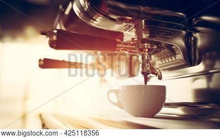 Coffee machine brewing coffee in restaurant