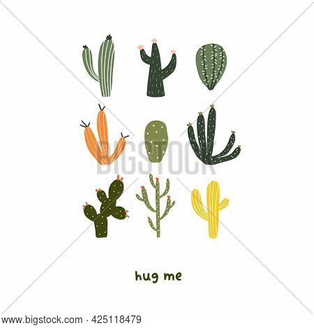 Cute Set Of Tropical Decorative Cacti With Thorns. Vector Illustration In Flat Hand Drawn Cartoon St