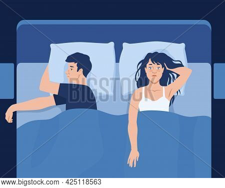 Insomnia Concept With Unhappy Caucasian Couple Lying In Bed. Sleeplessness, Sleep Disorder, Family R