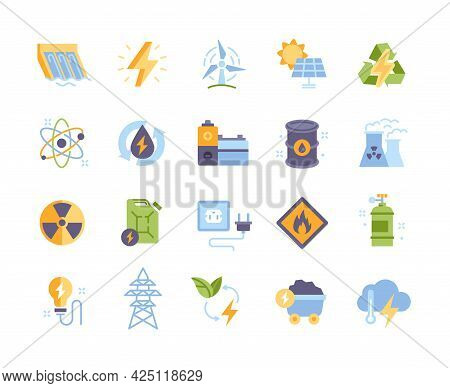 Colored Energy Types Vector Icons. Hydroelectric Power Station, Fossil Fuels, Battery, Solar Cells,