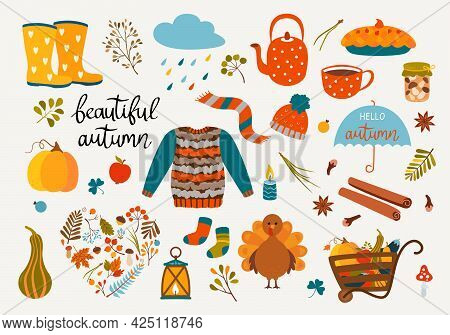 Set Of Autumn Icons - Maple Leaves, Mushrooms, A Cup Of Coffee, Pie, Candles, A Cloud, Pumpkin, Sock