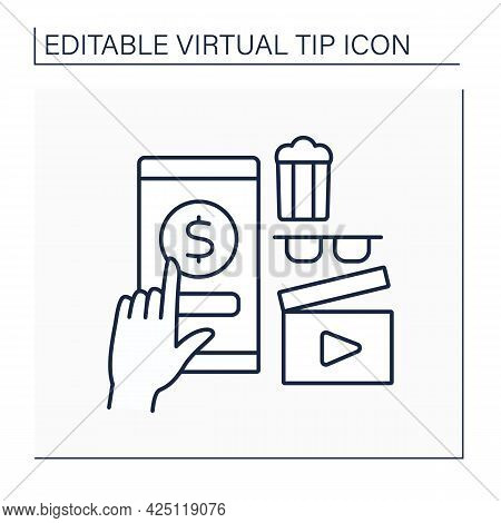Cinema Line Icon. Online Tips For Cinema Services. Popcorn And Film Watching. Positive Review. Enter