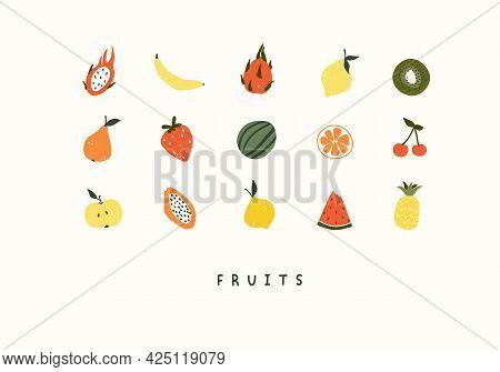 Cute Set Of Summer Fruits Pineapple, Watermelon, Papaya, Lemon. Cozy Hygge Scandinavian Style Templa