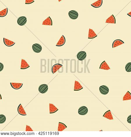 Seamless Pattern With Cute Hand Drawn Watermelon. Cozy Hygge Scandinavian Style Template For Fabric,