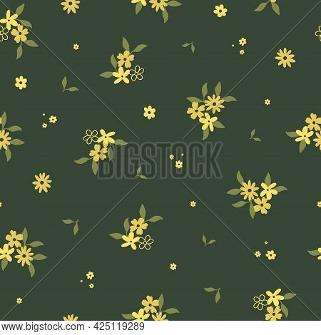 Seamless Pattern With Cute Hand Drawn Yellow Flowers And Leaves. Cozy Hygge Scandinavian Style Templ