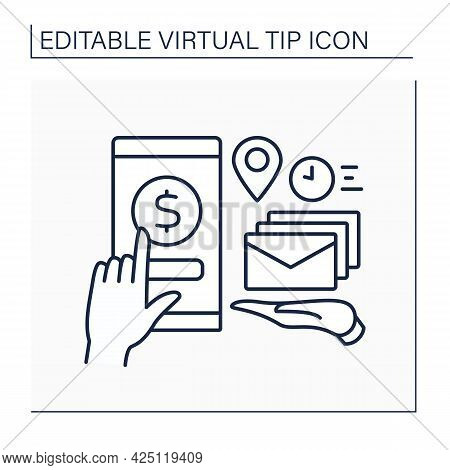 Donations Line Icon. Online Contributions For Fast Mail And Documentation Delivery.post Office Servi