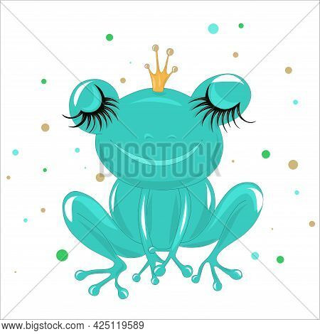 Princess Frog On A White Background. Fairy-tale Character Frog With A Crown On His Head. Vector Illu