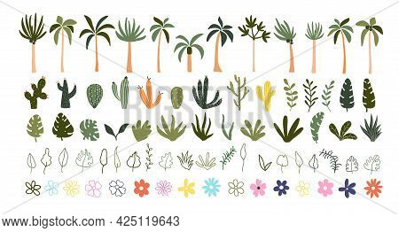 Cute Hand Drawn Summer Blooming Flowers, Green Leaves, Tropical Palm Trees, Cactuses. Cozy Hygge Pos