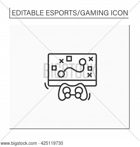 Game Strategy Line Icon. Game Playing Algorithm. Planning Actions, Communication Between Gamers. Cyb
