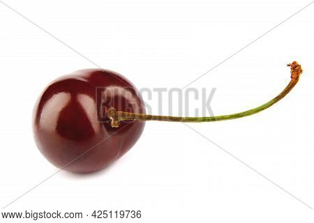 The Ripe Cherry Berry Is Isolated On A White Background. Full Clipping Path.