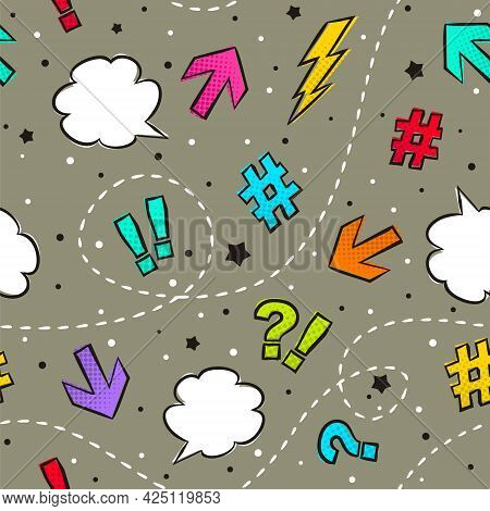Seamless Vector Pattern Of Comics Marks. Dark Background With Arrows, Exclamation Marks, Question Ma