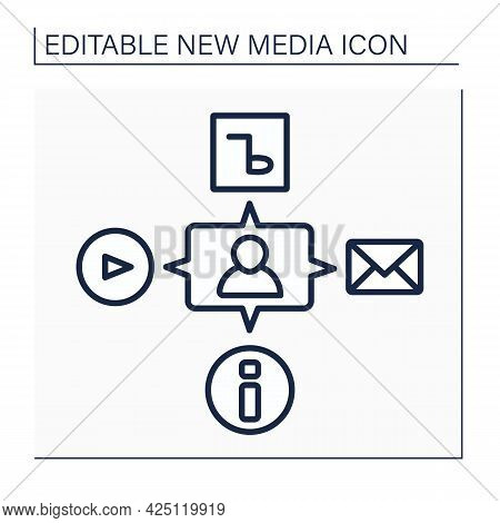 Media Line Icon. Interaction With All Content. Video, Audio, Information. Communication, Chatting Wi